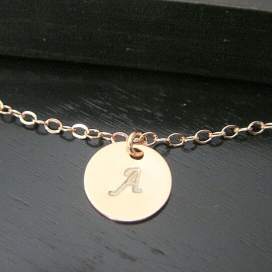 Buy Rose Gold Tiny Star Initial Disc Necklace, Mother's