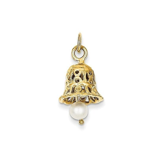 Gold Wedding Bells: Buy 14k Yellow Gold Wedding Bell With Pearl Charm By Bijou
