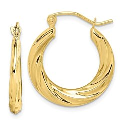 Yellow Gold Small Fancy Hoop Earrings