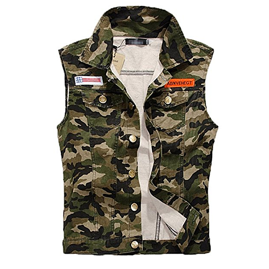b6d156c8a5 Buy Men s Comfortable Slim Fit Camo Cotton Demin Jacket Sleeveless Vest by  JiangsCollection on OpenSky