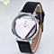 Triangle watch women Delicate transparent hollow leather strap wrist watch quartz dress watch