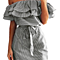 Women's Casual Off Shoulder Striped Ruffles Strapless Short Dresses Mini Dresses