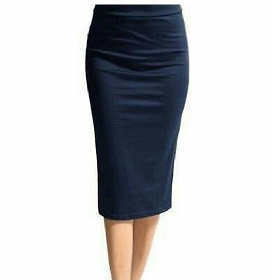 buy navy blue knee length pencil skirt by