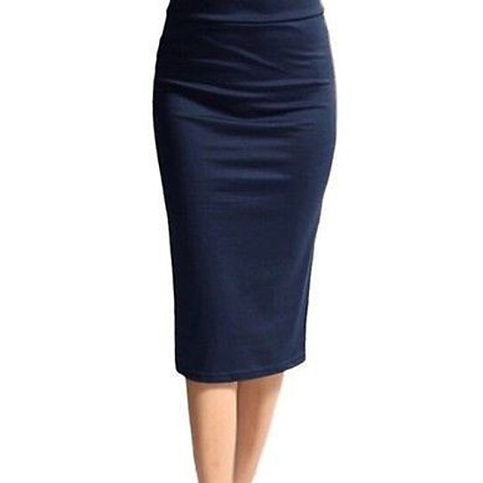 buy plus size navy blue knee length pencil skirt by