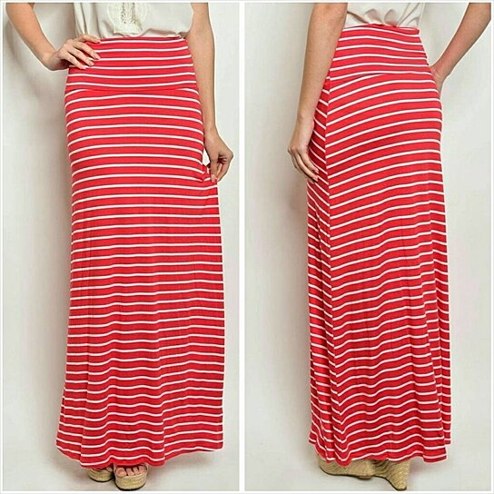Buy Red & white striped maxi skirt by Jill Marie Boutique on OpenSky