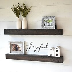 Rustic Solid Wood Floating Shelves