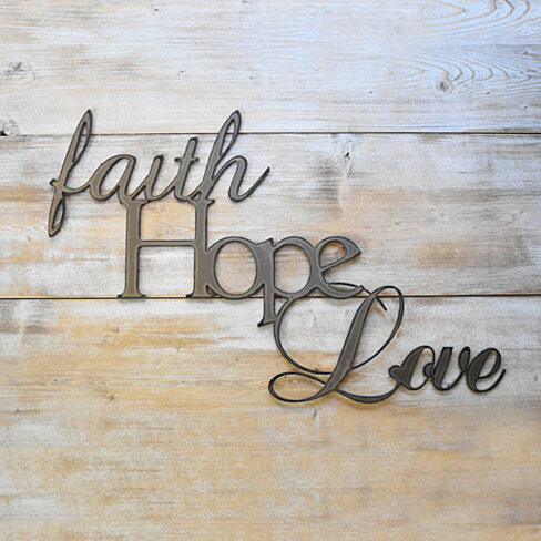 Metal Wall Art Faith Hope Love