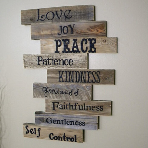 Love, Joy & Peace Reclaimed Wood Decorative Sign