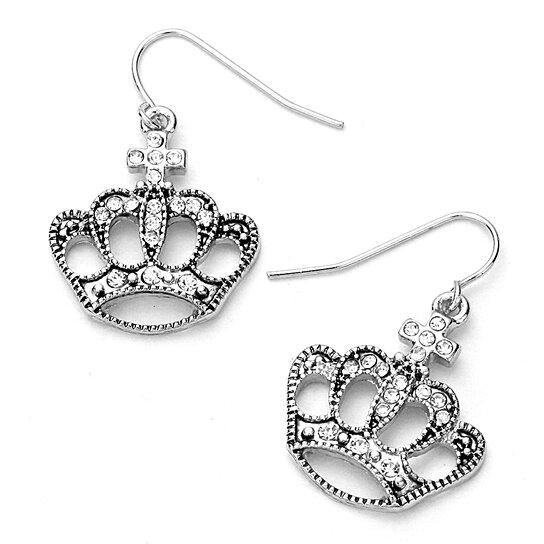 Buy silver bejeweled crown drop earrings by Joji Boutique on OpenSky