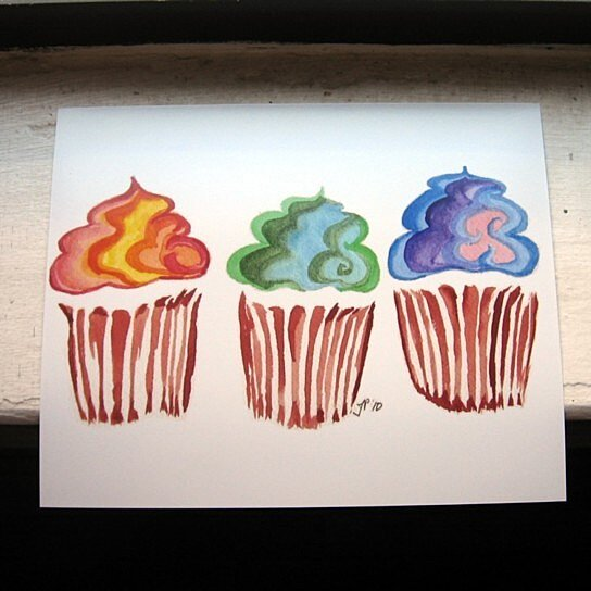 Buy 8x10 cupcake watercolor painting rainbow swirl for Cupcake wall art