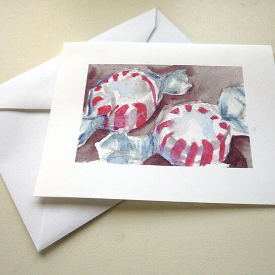 Christmas Notecards.Christmas Card Set Peppermint Candy Christmas Cards Set Watercolor Art Notecards Set Of 12