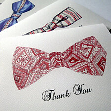 Groomsmen Bowtie Thank You Notes - Retro Watercolor Men's Fashion Bow Tie Thank You Cards - Set of 8