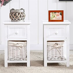 2pcs  Night Tables with Drawer and Basket White Country Style Two-tier