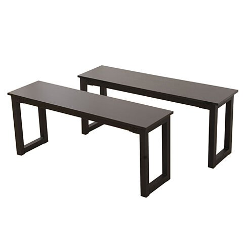 2pcs Simplistic Iron Frame Dining Benches Black