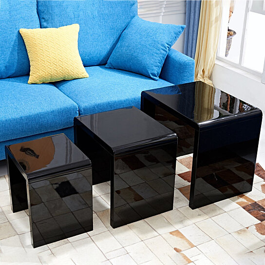 buy set of 3 nesting tables, end side table, living room modern home