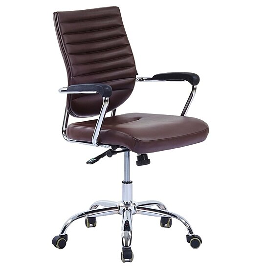 Buy Nut Brown Office Chair Mid Back Leather Executive Conference Chair By  JOYBASE On OpenSky
