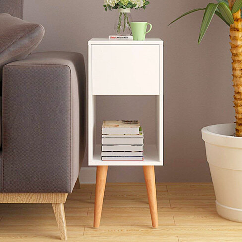 White Nightstand Side End Table with Drawer and Open Shelf Storage, Bedroom Funiture / Living Room Table Cabinet