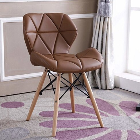 Kitchen Dining Chair with PU Leather Seat, Beech Wood Legs , for Living Room, Café, Home