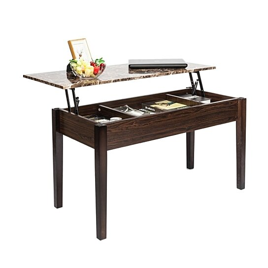 Lift Top Coffee Table Modern Furniture Hidden Compartment And Tabletop Brown By Joybase On Dot Bo