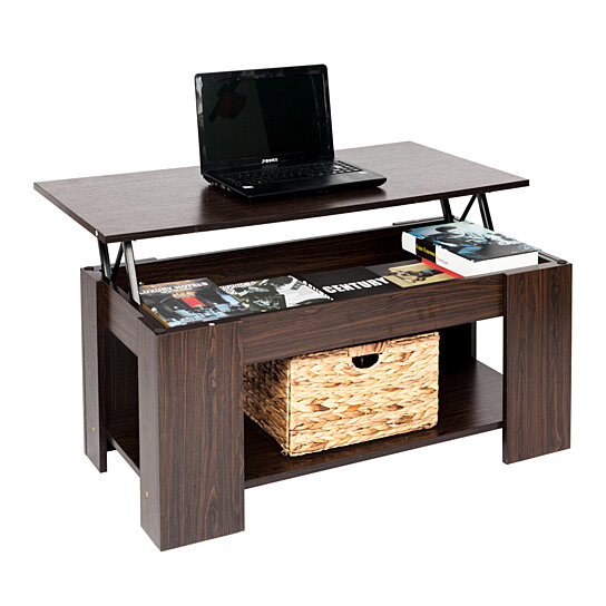Buy Lift Up Top Coffee Table Hidden Storage Compartment Espresso By