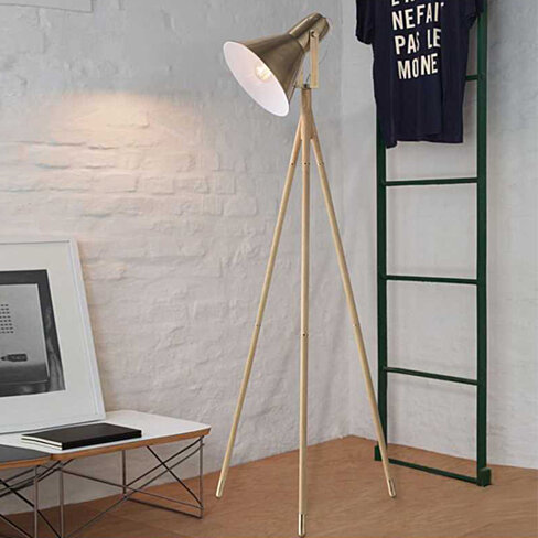 Nordic Simple Modern Retro Tripod Vertical Floor Lamp with Light Source US Plug