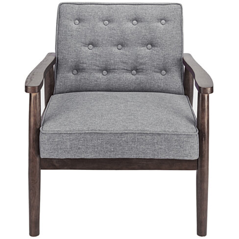 Retro Modern Fabric Upholstered Wooden Lounge Chair Grey