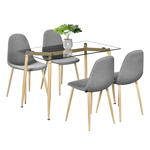 Simple Wood Grain Table Leg & Transparent Tempered Glass Dinner Table
