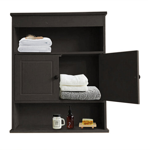 Two-door Bathroom Cabinet with Upper and Lower Layers Brown