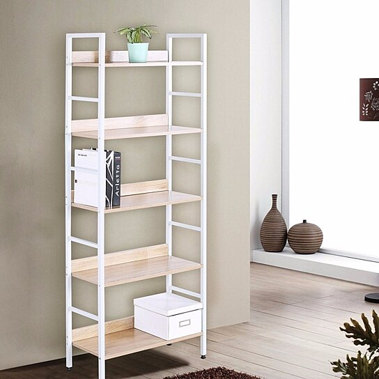 Buy Wood Bookcases And Book Shelves 5 Shelf White Beautiful Bookcase Metal Bookshelf Books Display Rack Tall By JOYBASE On Dot Bo