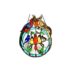 Stained Glass Chloe Lighting Birds On A Wire Window Panel CH1P986RA19-