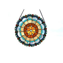 "Stained Glass Chloe Lighting Circus Tent 18"" Round Window Panel CH1P16"