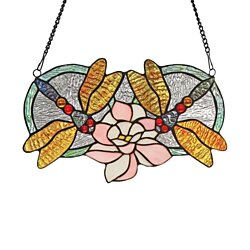 "Stained Glass Chloe Lighting Dragonfly Window Panel 13x22"" CH3P979OA13"