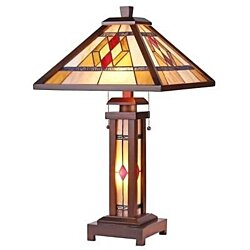 Stained Glass Chloe Lighting Mission 3 Light Double Lit Table Lamp
