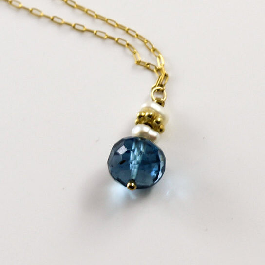 Buy Delicate Blue Topaz Necklace 14K Gold Fill Chain