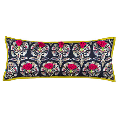 100 Handmade Imported Kalamkari Bloom Throw Pillow Cover Multicolor On Black