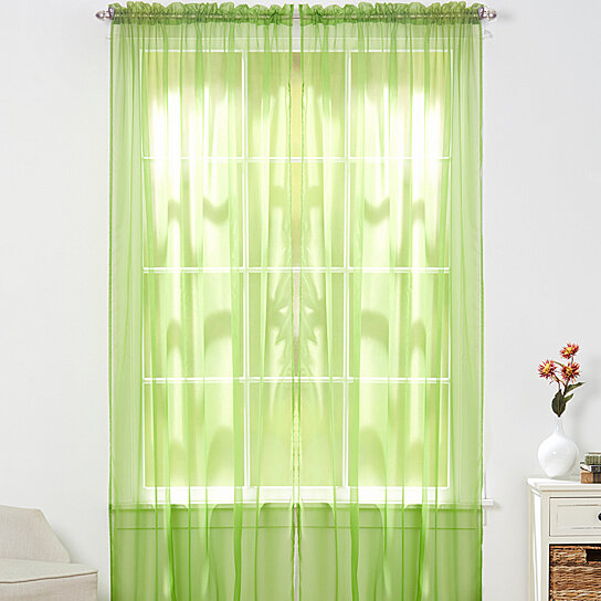 Buy 4 Piece Sheer Panel With 2inch Rod Pocket Window Curtains 55 Inch Width X 84 Inch Length