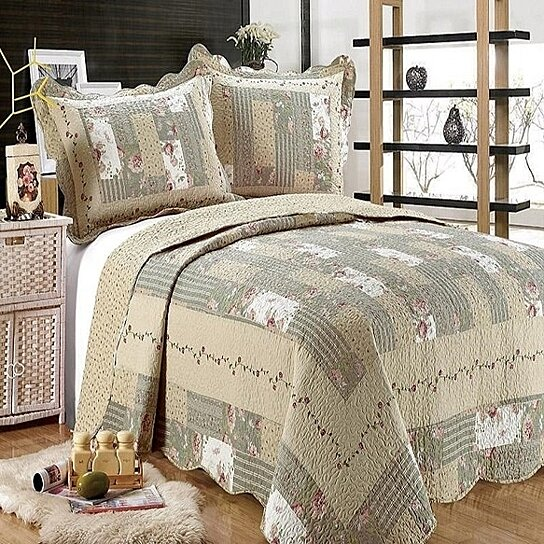 ALL FOR YOU 3-Piece Reversible Bedspread//Coverlet Quilt Set