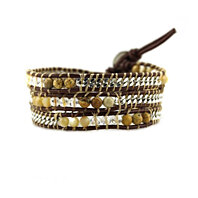 Wrap Bracelet Shell, Crystal, and Stone with Silver Chain on Brown Leather