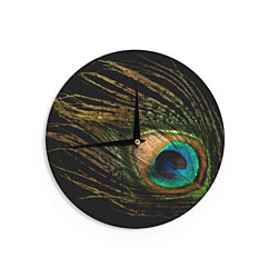 "Alison Coxon ""Peacock Black"" Wall Clock"