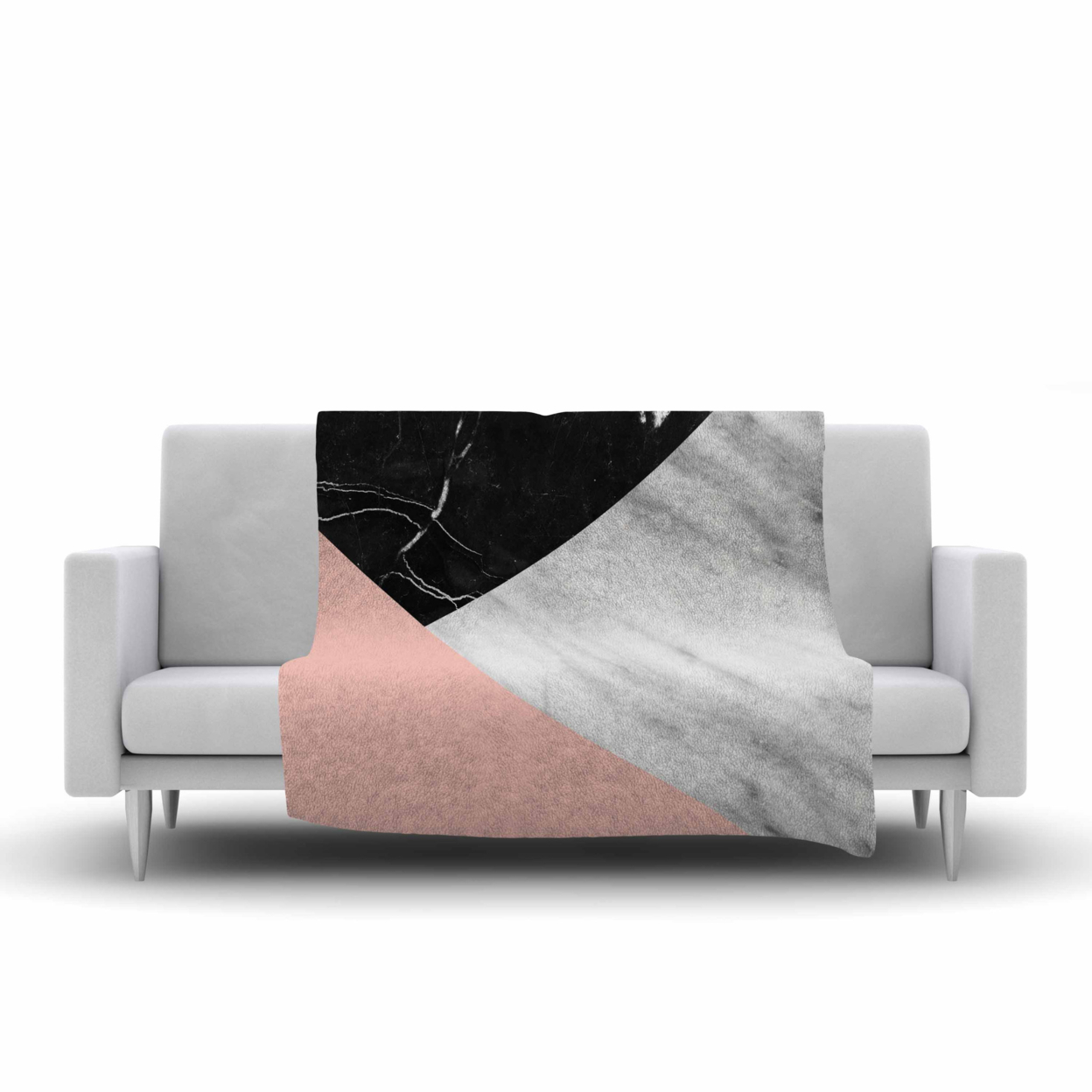 """Cafelab \""""marble Collage With Pale Pink \"""" Gray Pink Fleece Throw Blanket 40\"""" X 30\"""" (baby Blanket)"""