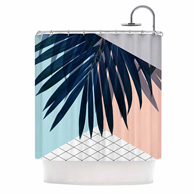 "Cafelab ""Pastel Geometry "" Paech Blue Shower Curtain"
