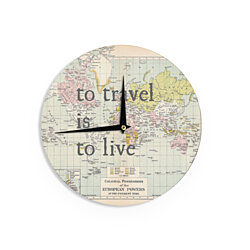 "Catherine Holcombe ""To Travel Is To Live"" Color Map Wall Clock"