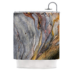 "Susan Sanders ""Milky Wood"" Gray Brown Shower Curtain"