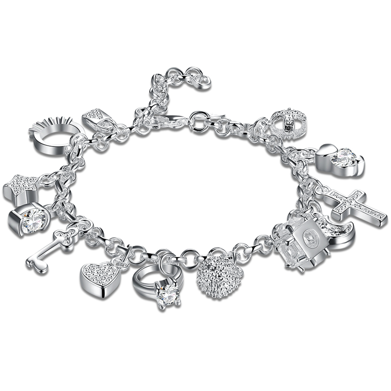 Sterling Silver Plated Classy Multi Charm Bracelet