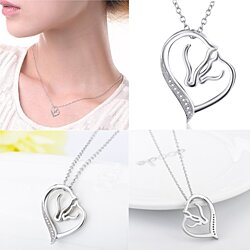 AAA-Grade Cubic Zirconia Minimalistic Horse Heart Pendant with Outline of Mother and Child in Loving Embrace