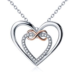 Encrusted Heart and Wrapping Infinity Sign Overarching 925  Silver Open Heart-Shaped Pendant Necklace