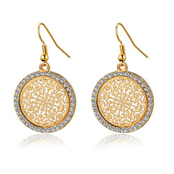 Round Drop Crystal Earrings in Gold or Silver