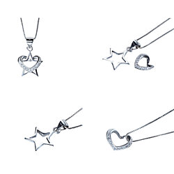 "Star and Heart Pendant Duo with Crystals  Wear Together or Separately with 18"" Box Chain"