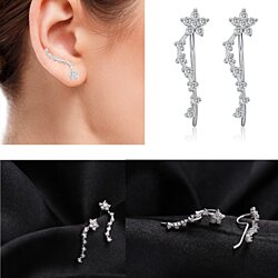 Sterling Silver Star Gaze Lingering Light  Zircon Ear Hook Earrings