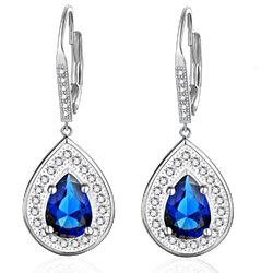 925 Sterling Silver Dream Water Drop Dangle Earrings with Blue and White Crystals